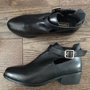 Topshop Monti Black Leather Cutout Boots